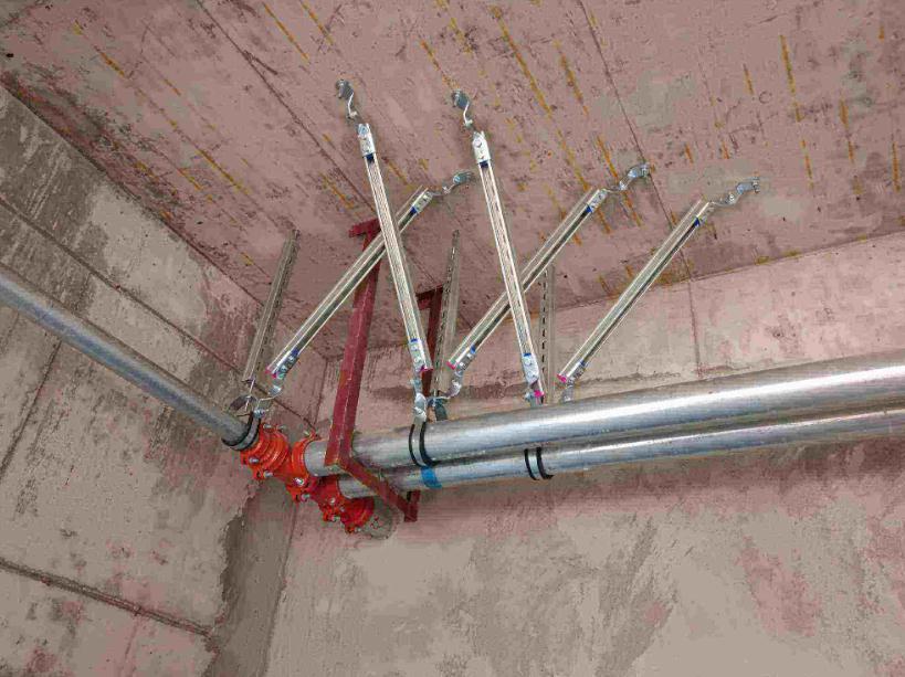 冷热水、消防管道系统抗震支架运用实拍图片